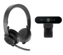 991-000309, Logitech Zone Wireless Bluetooth Headset - Graphite and Brio 4K Webcam -- снимка